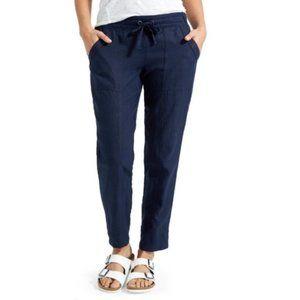 Athleta Bali Navy Blue Cropped Linen Pants